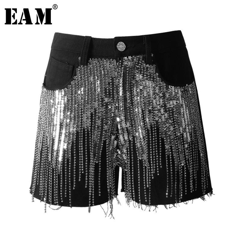 [EAM] 2019 New Spring Summer High Waist Black Rhinestone Tassels Stitch Loose Wide Leg   Shorts   Women Trousers Fashion Tide JO644