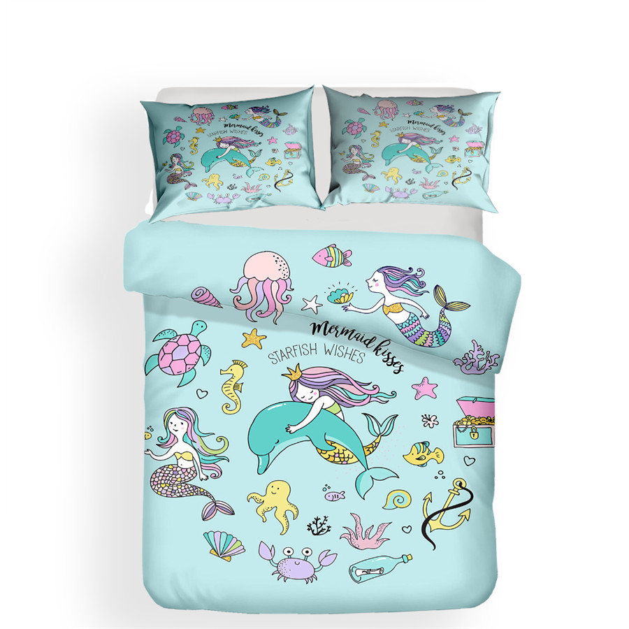 Bedding Set 3D Printed Duvet Cover Bed Set Sea Mermaid Home Textiles For Adults Lifelike Bedclothes With Pillowcase #MRY06