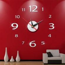2379128d9 جديد وصول الكوارتز الساعات الأزياء الساعات 3d الحقيقي كبيرة ساعة حائط هرع مرآة  ملصقا diy غرفة