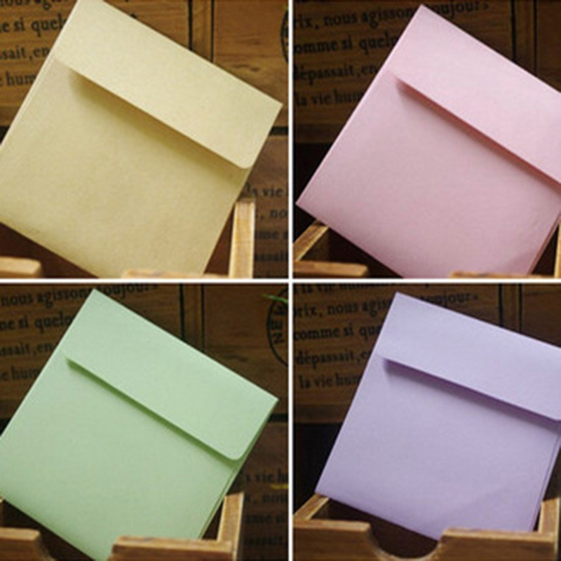10pcs/lot 5colors Paper Postcard Wedding Gift Envelope Multicolour Envelope 10cmX10cm Stationery Office School Supplies 03217