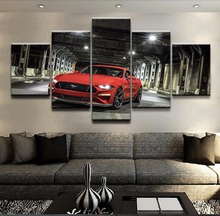 5 Pieces Ford Mustang Car Pictures Modern Wall Art Paintings Framework For Living Room Home Decor Top-Rated Canvas Print Draw