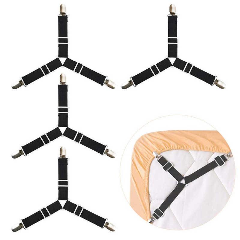 4 個調節可能な三角形ファスナークリップベッドシーツマットレスシートストラップサスペンダーホルダーフックレール新ホット
