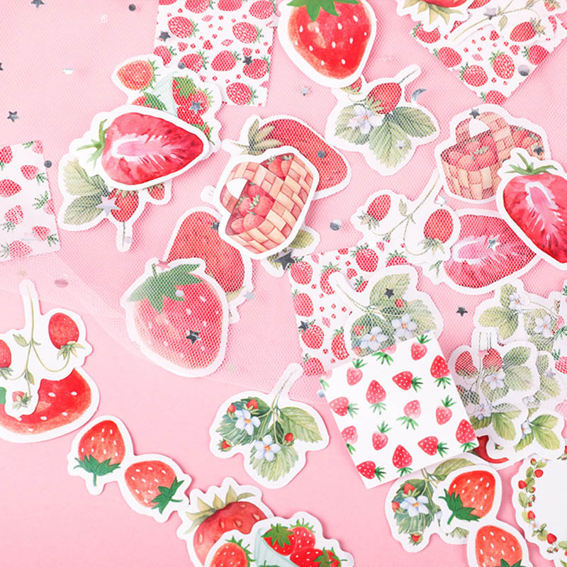 45Pcs Cute Strawberry Stickers  Adhesive Paper Stickers Kawaii Stationery StickersFor Kids  Diary Photo Decorative Scrapbooking