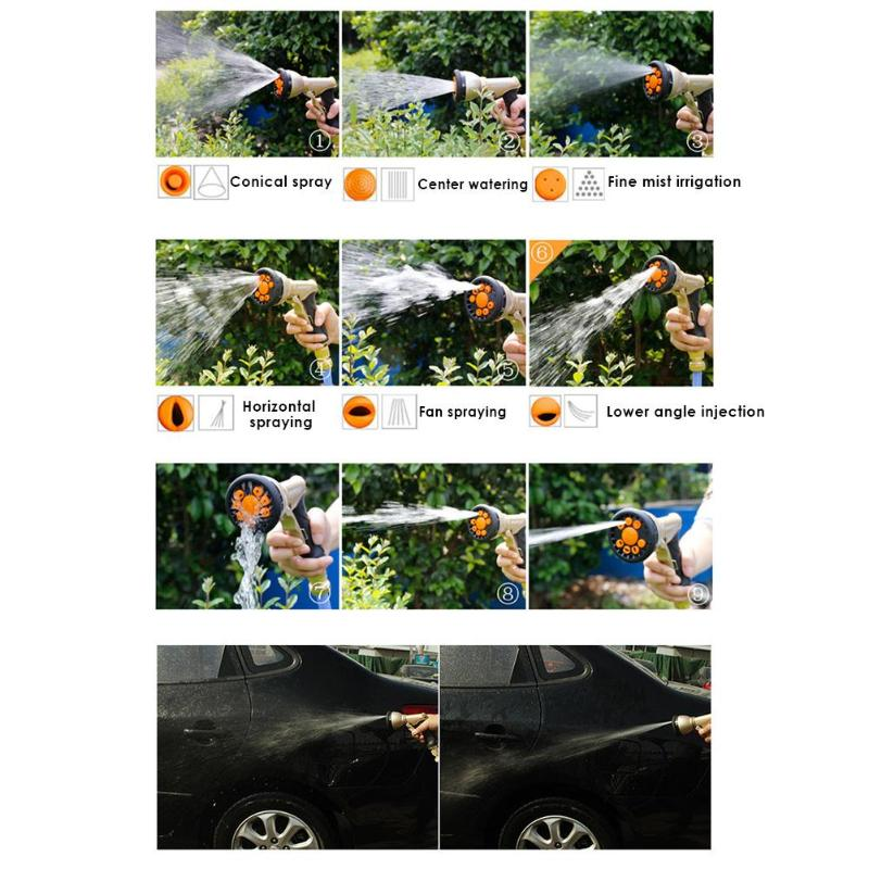 Image 5 - 2019 New 9 Pattern Multifunctional High Pressure Sprinkler Garden Water Hose Nozzle  7 adjustable mode heads including shower-in Garden Sprinklers from Home & Garden