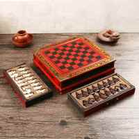 Retro Wooden Chinese Terracotta Warrior Chess Board Kit Resin Carving Chessmen Checkers Entertainment Games Premium Gifts Chess