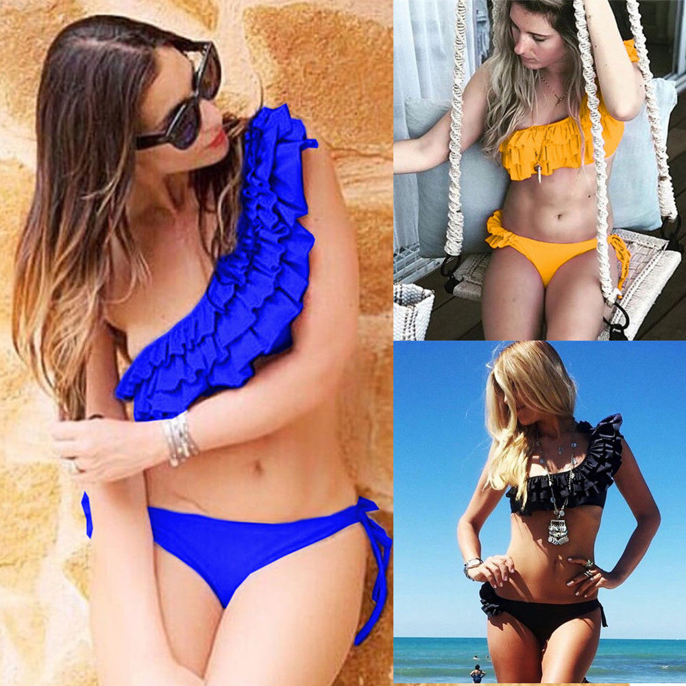 06b5a47e617 Women Two piece Ruffle Swimsuit Baby Push up Padded Bra Bandage Bikini  Swimsuits Triangle Swimwear Bathing S XL-in Body Suits from Sports &  Entertainment on ...