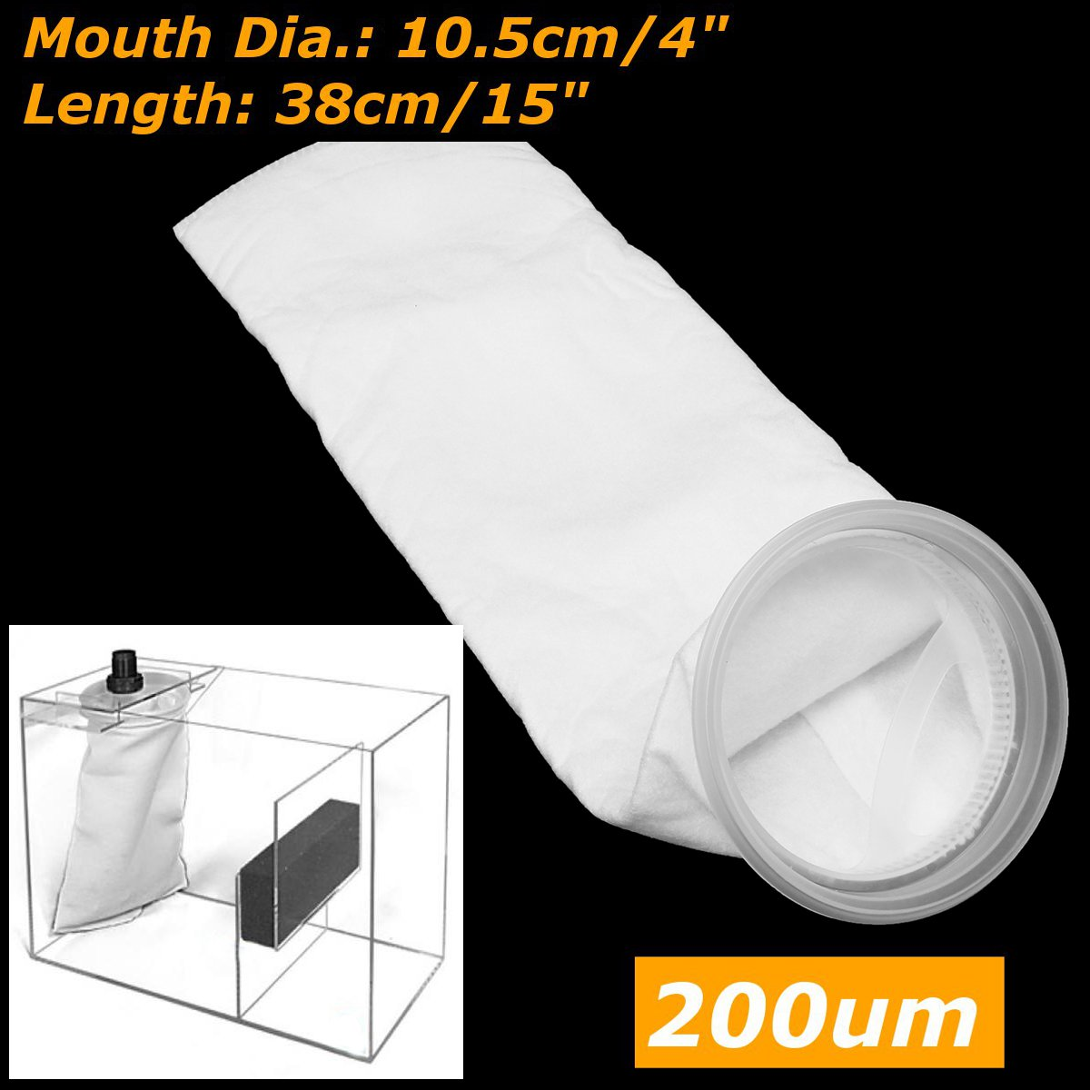 200 микрон 4*15 дюймов аквариум морской отстойник Войлок Предварительно фильтр носок мешок бак мешок сетчатого фильтра высокая плотность межп...