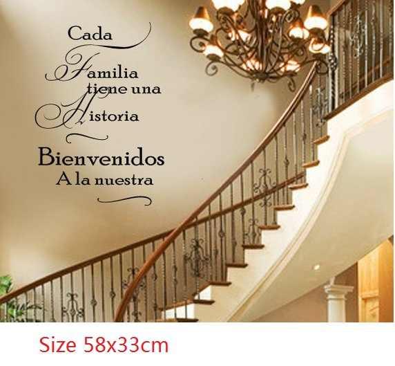 Hiszpański każda rodzina ma swoją historię zapraszamy do naszego Vinyl kalkomania ścienna-duży rozmiar opcje ścienne cytaty
