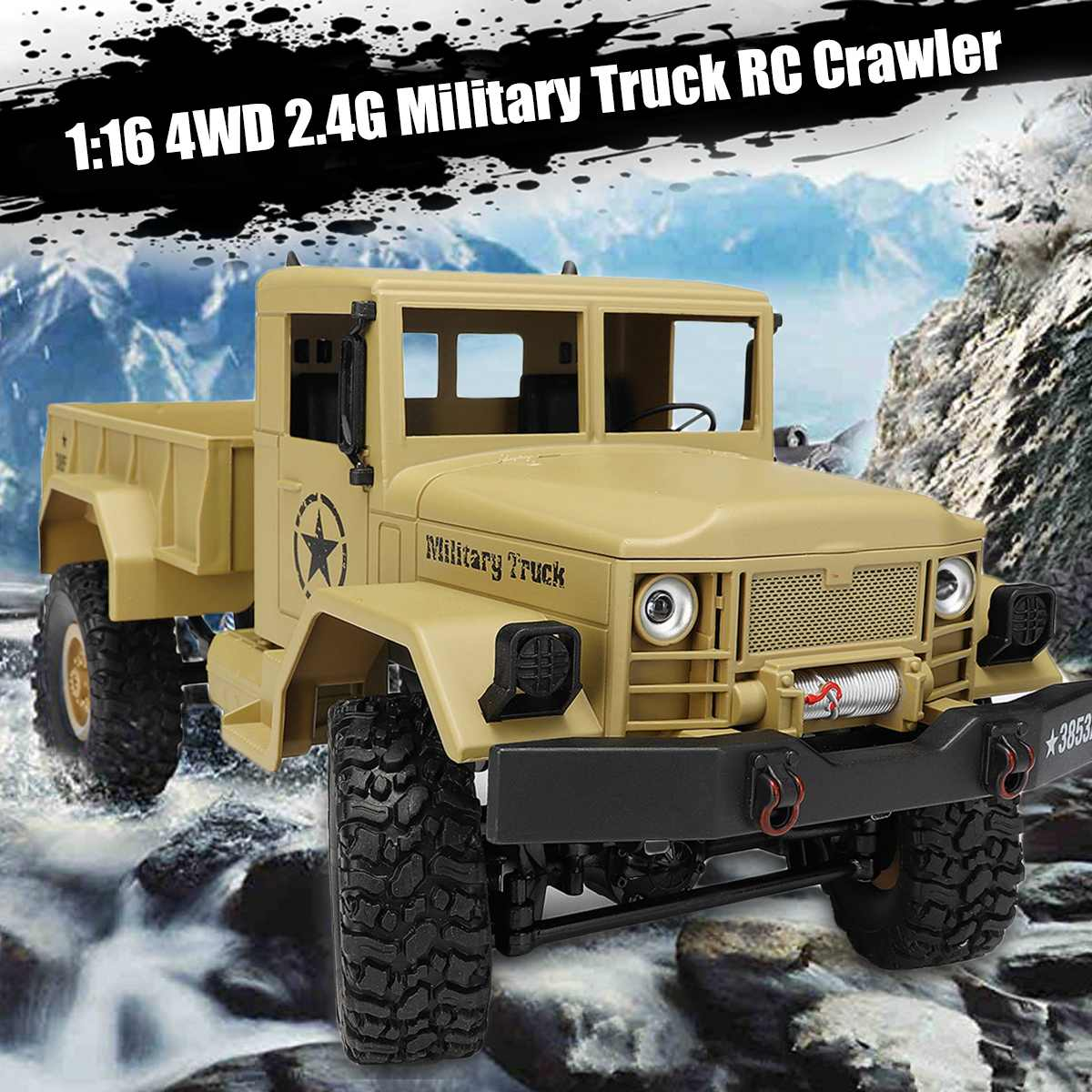 1:16 2.4G 4WD 10km/h RC Crawler Military Truck Off Road Rock Car RTR Remote Control Toy Power-efficient Colors LED Headlight1:16 2.4G 4WD 10km/h RC Crawler Military Truck Off Road Rock Car RTR Remote Control Toy Power-efficient Colors LED Headlight