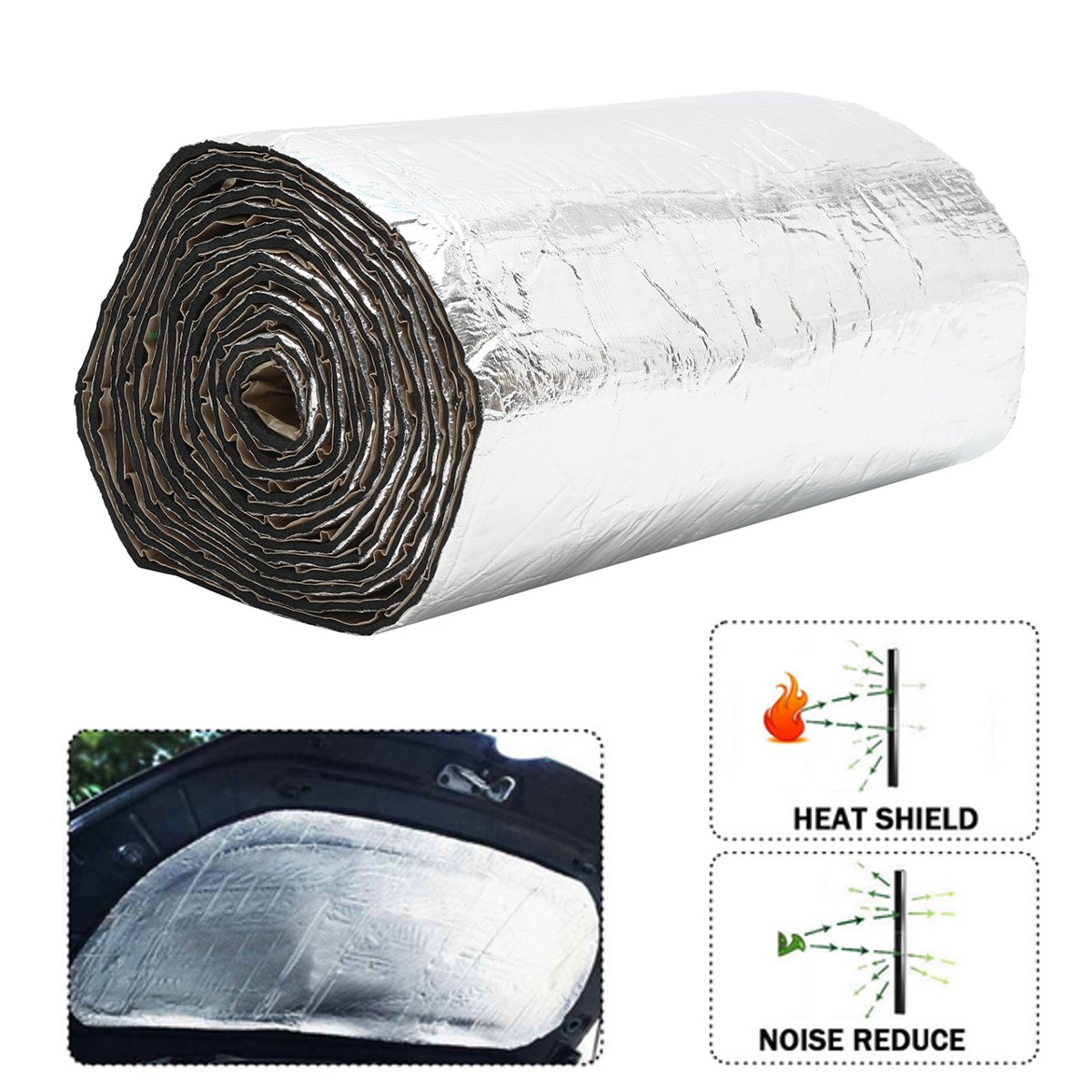 Bonnet Insulation Soundproofing GlassMAT High Temperature 1m x 3m 10mm Reflective Engine Bay Thermal Acoustic Insulation Sound Proofing Foam
