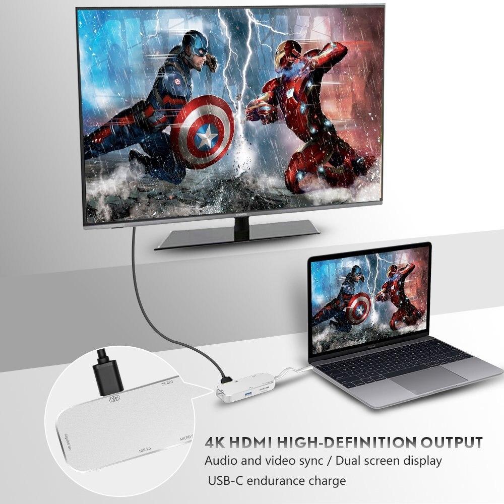 Type C Hub 7-en-1 USB C Adaptateur Type C 3.1 Port de Charge avec 4 k HDMI port, 2 USB 3.0 Ports, SD/TF Lecteur de Carte et RJ45 Ethe - 6