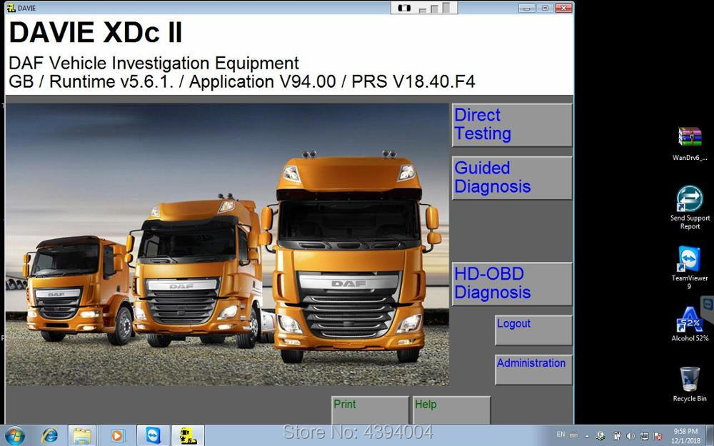 2019 year Newest DAF Davie Runtime 5 6 1 for paccar and DAF engine diagnostic software