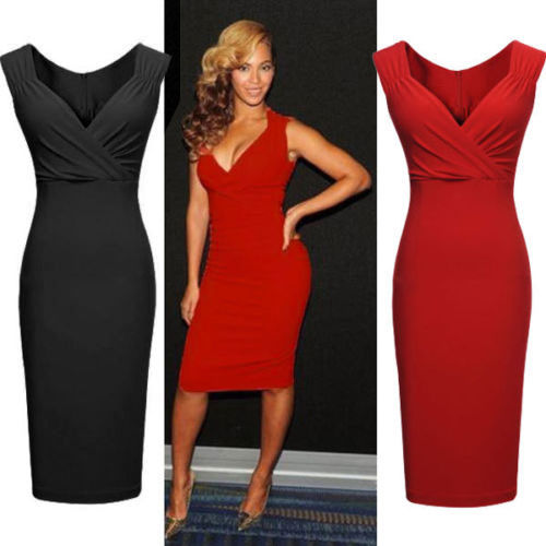 Womens Sleeveless Summer Costume Size 6 - 14 Bodycon Sleeveless <font><b>Dress</b></font> Ladies Party <font><b>Dresses</b></font> <font><b>Red</b></font> Black <font><b>Sexy</b></font> image
