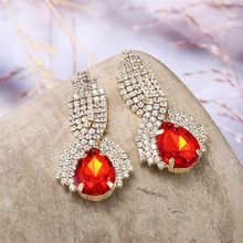 Fashion Shiny Crystal Big Pendant Earrings for women Water Drop Design Trendy earrings Wedding Jewelry Boutique Accessories(China)