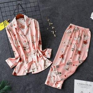 Image 5 - 2019 Spring Satin Pyjamas Women Pajamas Sets With Pants Flower Print Long Sleeve Silk Sleepwear Pijama Mujer Female Nightsuit