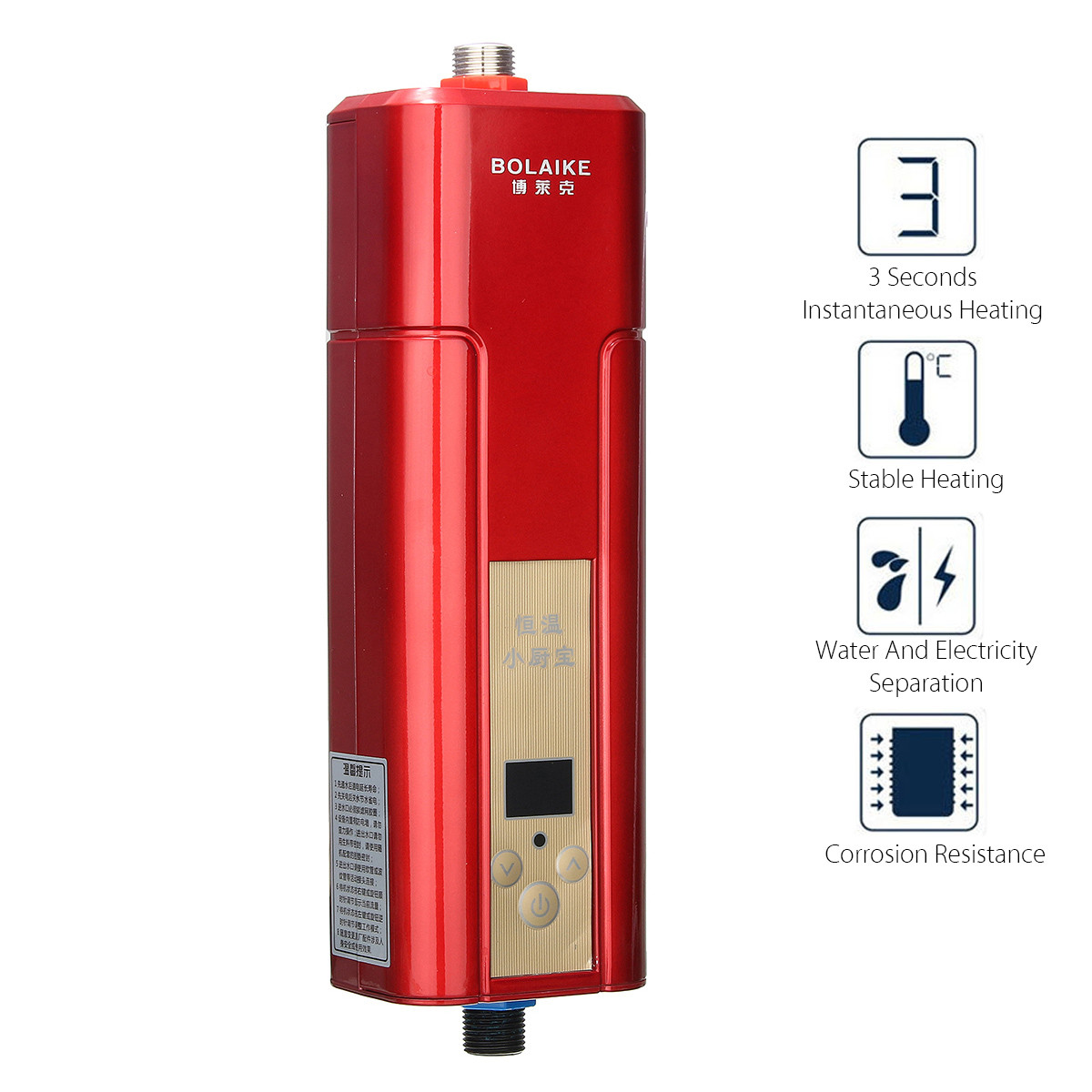 220V 5500W Electric Water Heater Mini Instant Tankless Water Heater Indoor Shower Kitchen Bathroom Water Heater Appliances