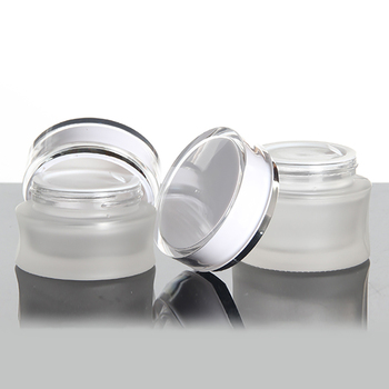 30g cosmetic packaging empty frosted glass cosmetic jar with white lid, 30ml makeup travel cream refillable bottles