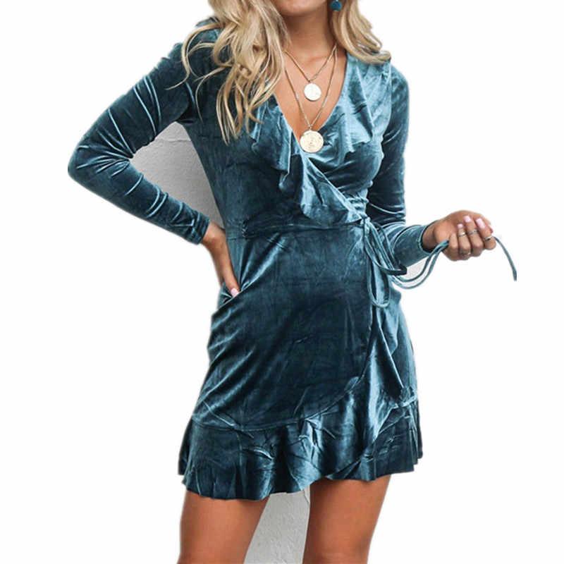 Christmas Ruffles Dresses Ladies Velvet Long Sleeve Mini Dress Sexy Women V  Neck Party Dresses Winter 83baca6b80bf