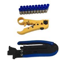 1 Set Coaxial Compression Tool Adjustable RG6 RG59 RG11 75-5 75-7 Coaxial Cable Stripper With 20PCS F Compression Connectors цена