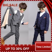 boys kids 3PCS blazers boy suit for weddings prom formal spring autumn gray/blue dress wedding boy suits цена и фото