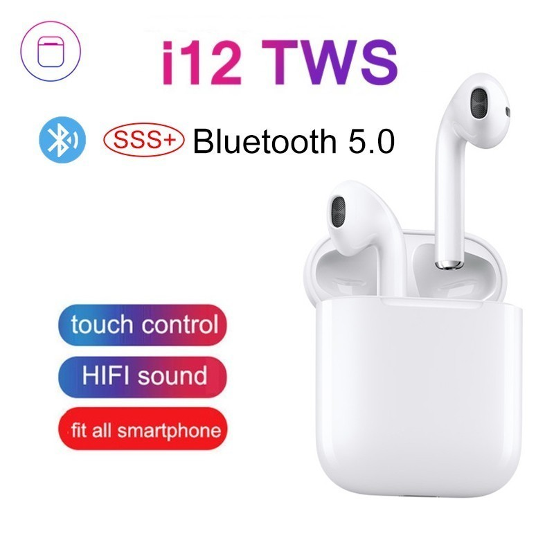 New i12 TWS Bluetooth 5 0 Earphone 1 1 Wireless Pods Smart Touch Headphones for iPhone