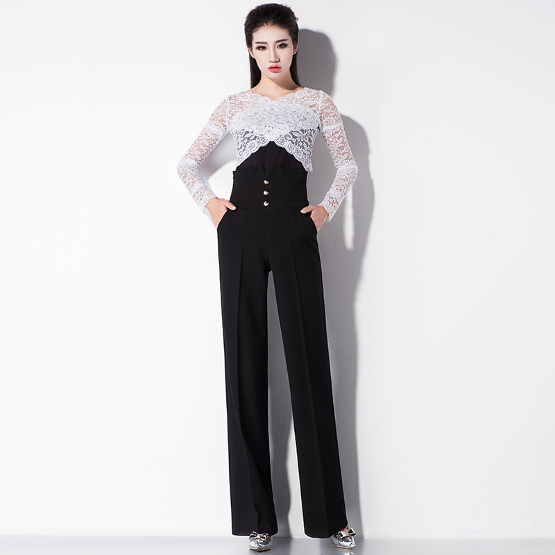 Noir Haute Jambe Large Taille Formelle Femelle Harajuku Vintage Streetwear Long Pantalon Mince Femmes QBsrdCxhot