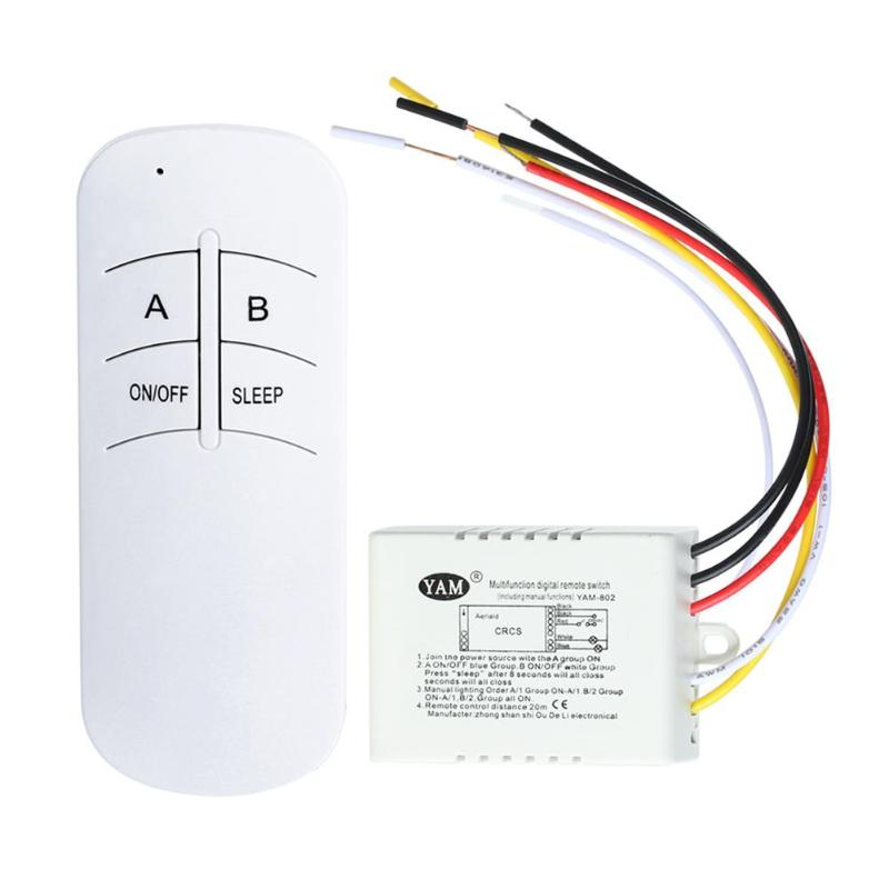 2Pcs 3 Port Wireless Remote Control Switch ON/OFF 220V Lamp Light Digital Wireless Wall Remote Switch Receiver Transmitter