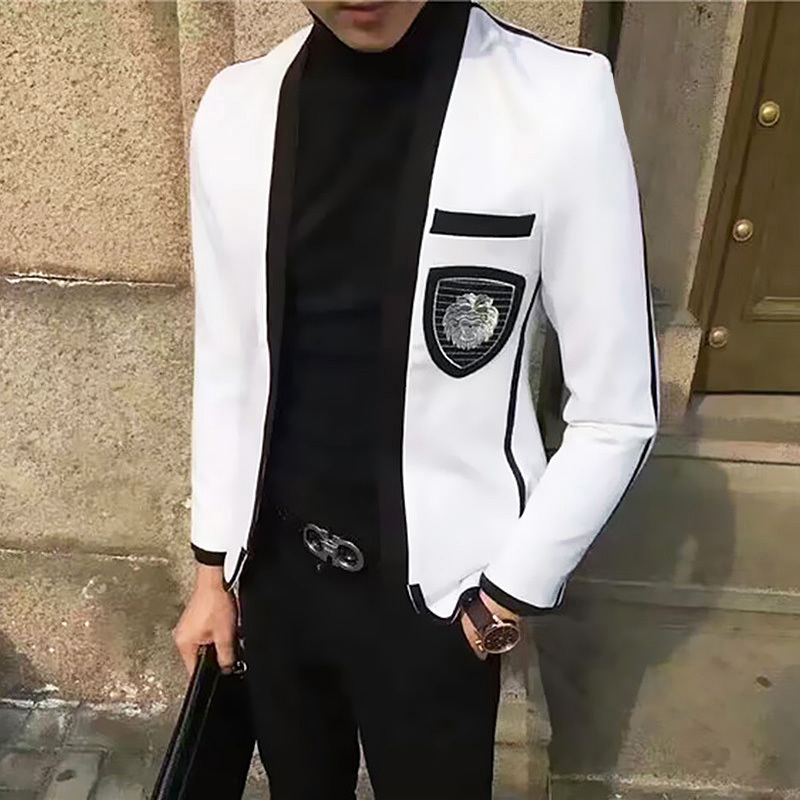 Mens Blazer Jacket Teenagers Single-Product Hairstyle Man's-Suit Handsome-Trend White