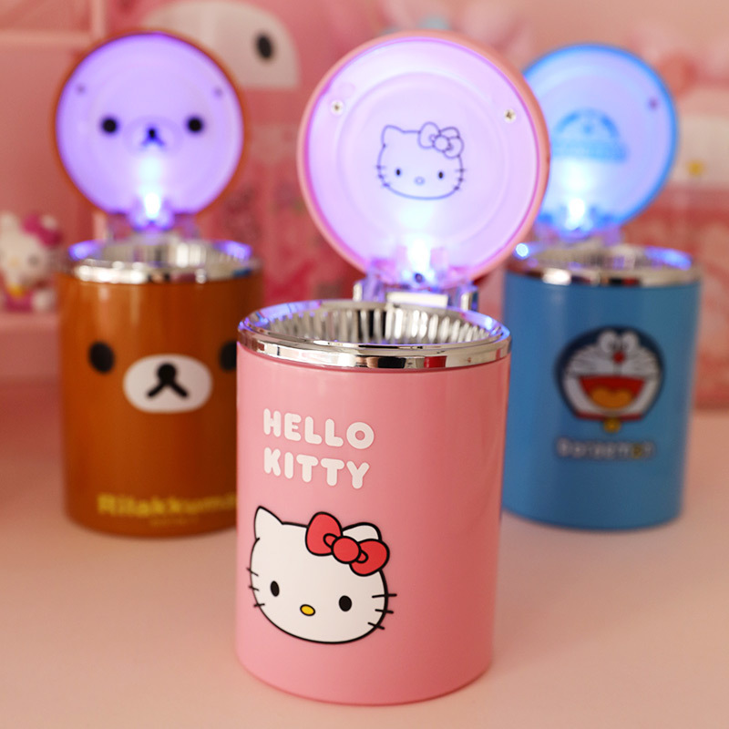 Hello Kitty portable ashtray outdoor car night light supplies function ashtray