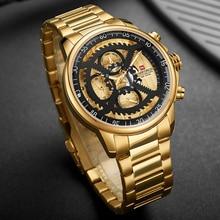 NAVIFORCE Gold Watch Men Waterproof Sport Wristwatch Mens Luxury Business Stainless Steel Quartz Clock Male Relogio Masculino