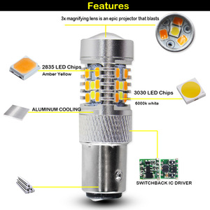 Image 4 - IJDM عالية الطاقة 28 SMD 1157 ثنائي اللون المتعرج LED المصابيح الأمامية بدوره إشارة (7 الأبيض 21  العنبر)