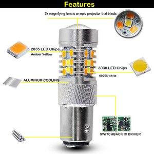 Image 4 - IJDM interrupteur de commutation double couleur, haute puissance 28 SMD 1157, ampoule LED pour clignotant avant (7 blanc et 21 ambre)