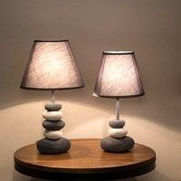 DX Modern Led Desk Lamp Nordic Lighting Fabric Shape Metal Body Stone Design Bedroom Study Reading Book Light Black Lusters