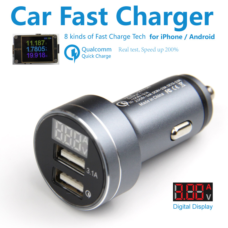 Dual Usb QC 3.0 Quick Charge Car Charger Led Display Voltage 2 Usb Fast Charge Auto Mobile Charger for iPhone iPad Huawei FCP