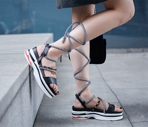2018 Hot Summer Shoes Woman Sandals Leather Platform Retro Cross-tied Design Sandals Fashion Casual Cozy Rome Tipe Shoes Woman2018 Hot Summer Shoes Woman Sandals Leather Platform Retro Cross-tied Design Sandals Fashion Casual Cozy Rome Tipe Shoes Woman