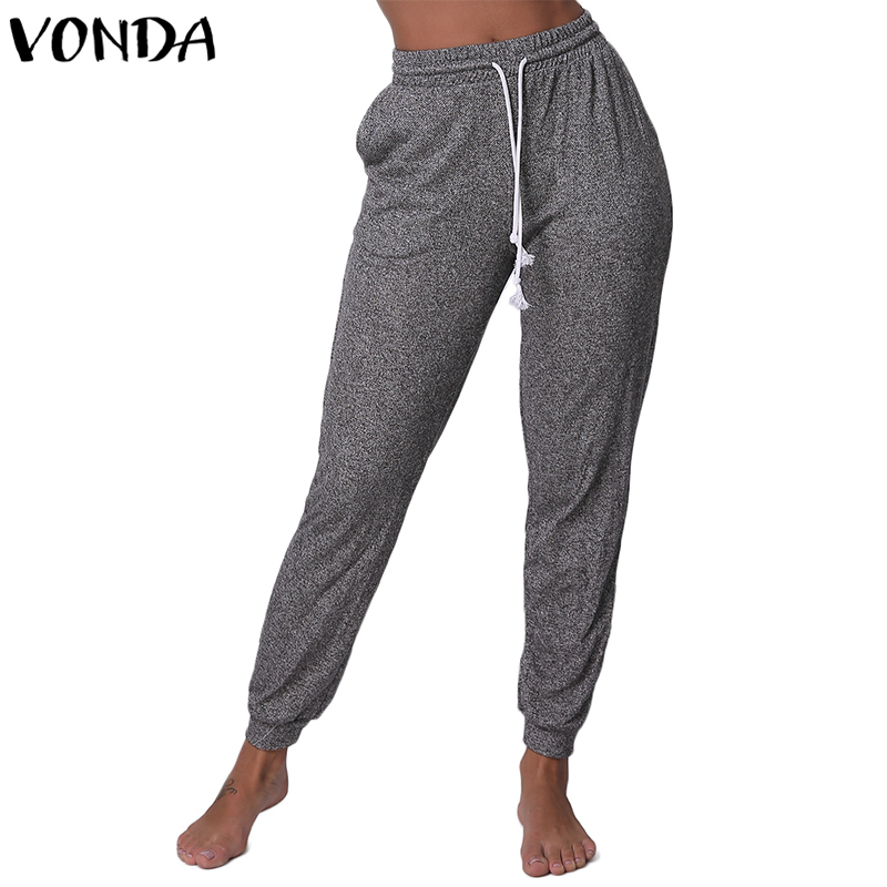 VONDA Women's Sweatpants 2018 Casual Elastic High Waist Drawstring Slim Fit Trousers With Pockets Pencil Bottoms Joggers Pants
