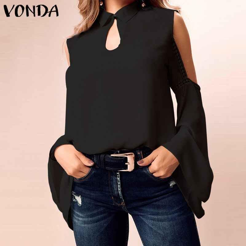 VONDA женские сексуальные кружевные блузки с открытыми плечами 2019 рубашка плюс размер туника пляжный Патри Blusas винтажные топы с длинными рукавами