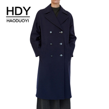 HDY haoduoyi Temperament Dark Blue Simple Lapel Double-Breasted Long-sleeved Loose Mid-length Coat цена в Москве и Питере