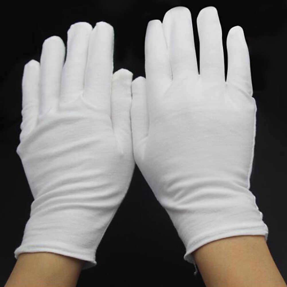 1 coppia di Cotone Bianco Guanti Guanti Pieni Della Barretta Uomini Donne Camerieri/driver/Monili/Lavoratori Guanti Assorbimento del Sudore Guanti le mani di Protezione