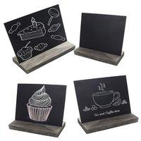 Mini conjunto de madeira blackbord 4 pces com 3 chalés base de madeira suporte de mesa estilo rústico quadro pequeno sinal cartão de nome 15.3x12.7x4.6|Quadro negro| |  -