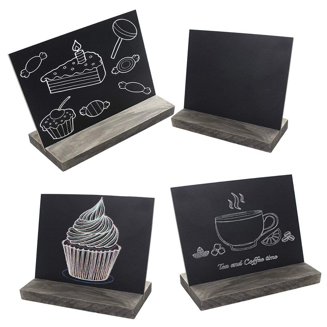 Wooden Mini Blackbord 4pcs Set With 3 Chalks Wood Base Stand Rustic Style Tabletop Chalkboard Small Sign Name Card 15.3x12.7x4.6