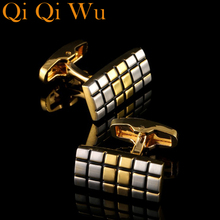 Luxury Plaid Pattern Gold Shirt Cufflinks for Mens Brand Cuff Buttons French links High Quality Silver Abotoaduras Jewelry