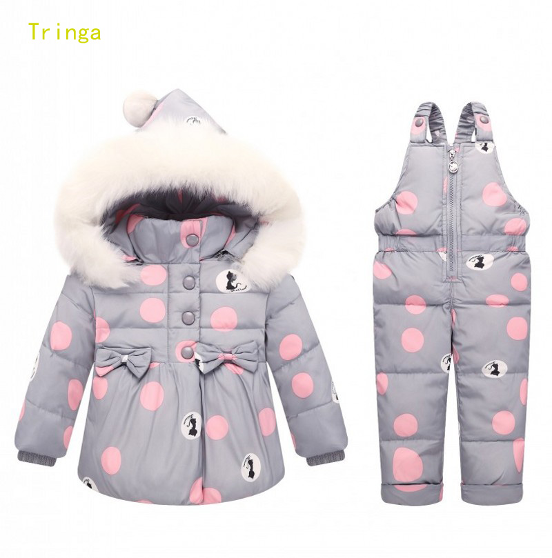 Children Clothing Kids Girl 2 3 4 Fur Hooded down coat Jacket+overalls jumpsuit -20  Winter Clothes Snowsuits Baby Girl Outfits