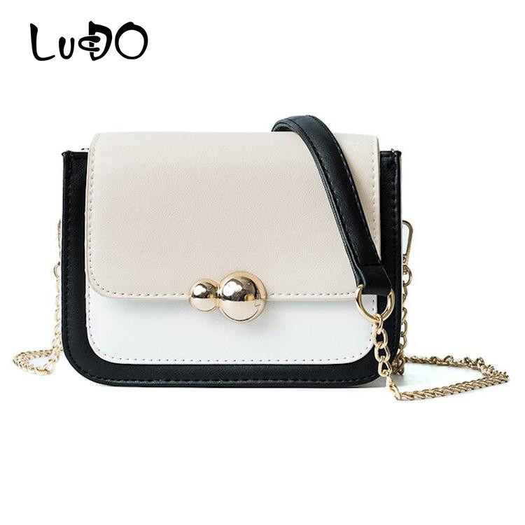 LUCDO Fashion Women Bag Mini Leather Chains Messenger Bags Ladies Crossbody Bags Design Female Small Flap Bag Sac A Main Femme