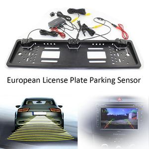 Image 2 - Car Parking Sensor Kit Auto Reversing Radar European License Plate Camera Front Back Car Rear View with digital LCD Display