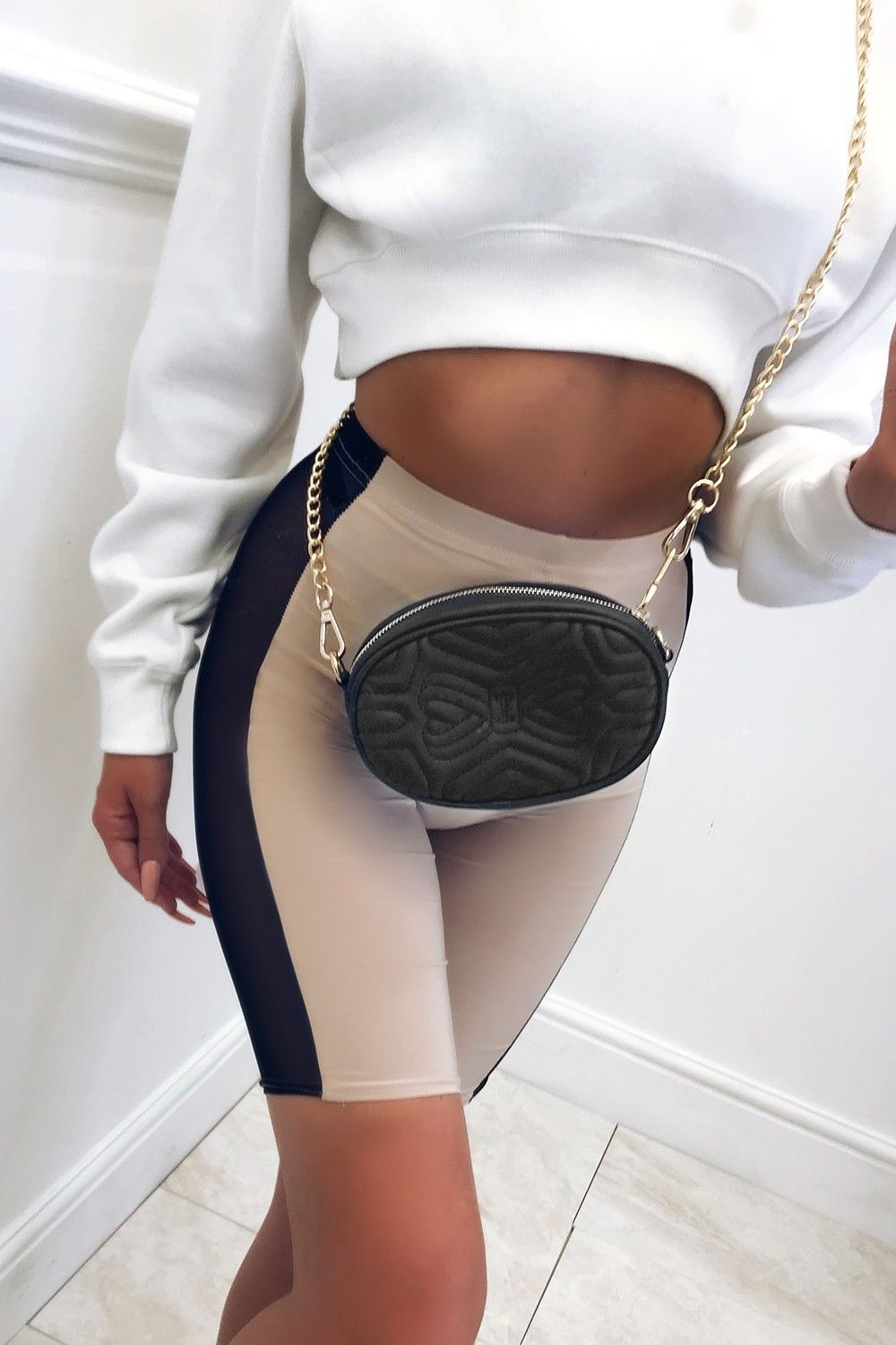 Summer   Short   Pant Women Half Length Elastic Waist Mesh Patch Stretch   Shorts   High Waist   Shorts   For Women