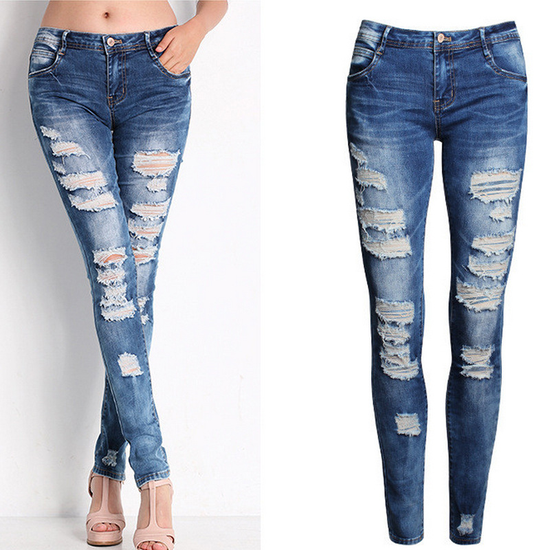 Blue Jeans Pencil Pants Slim Hole Ripped Denim Jeans Casual Stretch Jeans 2