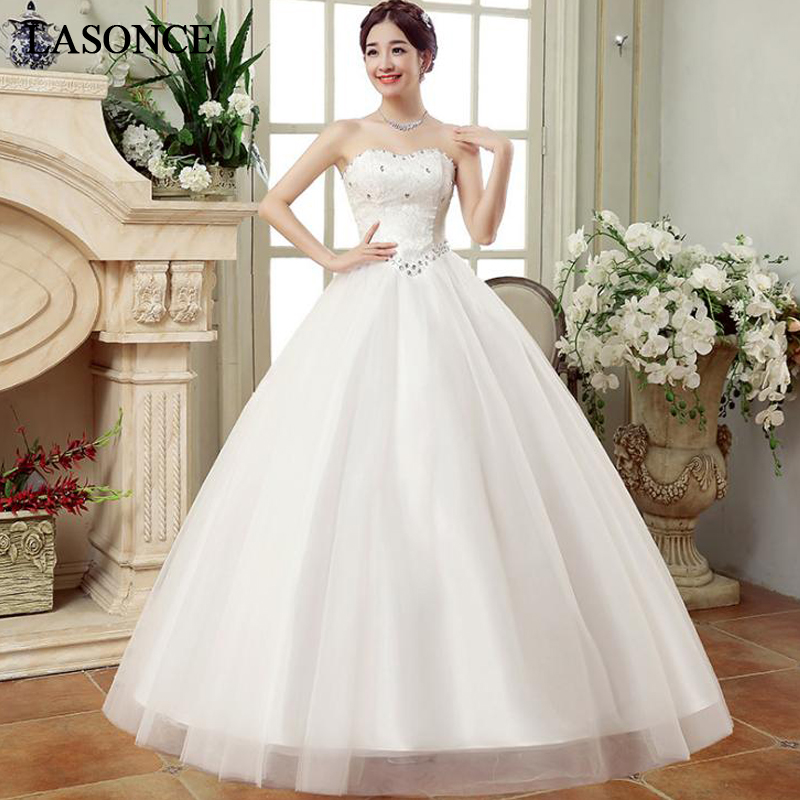 LASONCE Off The Shoulder Ball Gown Lace Embroidery Wedding Dresses Crystal Strapless Tulle Backless Bridal Gowns