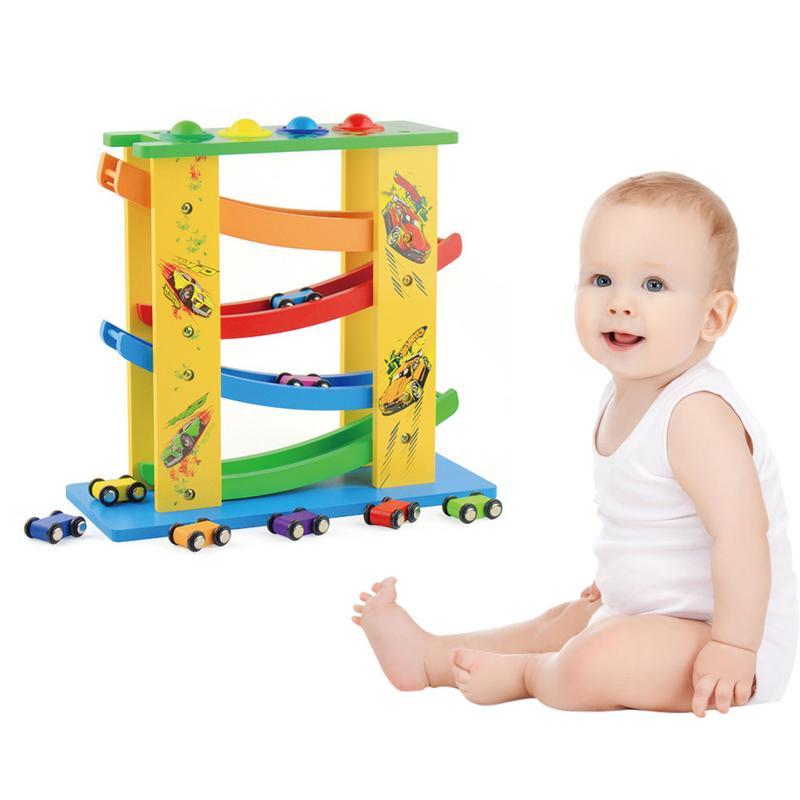Multifonctionnel en bois Puzzle piste planeur pour enfants intéressant bébé début éducation inertie glisser volant voiture en bois jouet