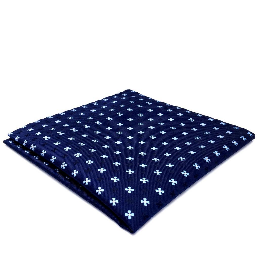 BH16 New Business Mens Pocket Square Navy Floral Silk Handmade Unique Handkerchiefs 12.6